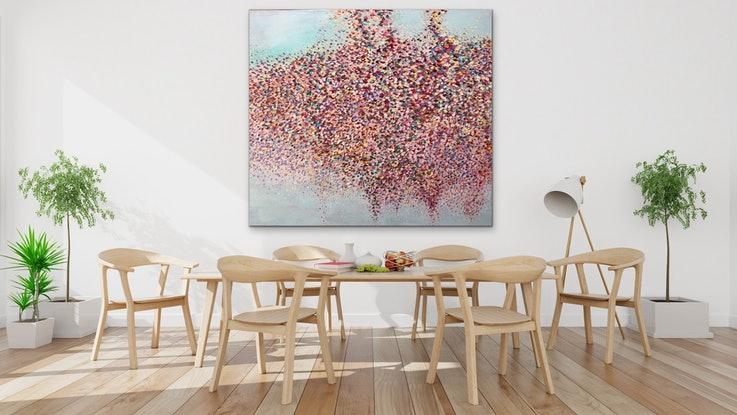 (CreativeWork) Wisteria  Petals by Theo Papathomas. Oil Paint. Shop online at Bluethumb.