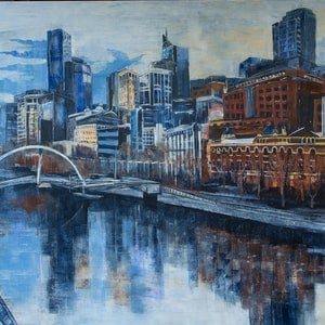 (CreativeWork) Melbourne Changing City Skyline by Rosa d'Argent. arcylic-painting. Shop online at Bluethumb.