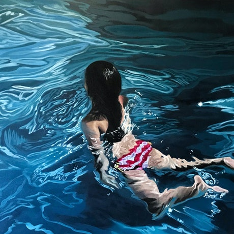 (CreativeWork) Last Swim (Framed) by Amanda Cameron. Oil Paint. Shop online at Bluethumb.