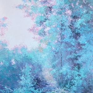(CreativeWork) DUSKY PINK AND TURQUOISE TREES  by Jan Matson. oil-painting. Shop online at Bluethumb.
