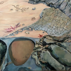 (CreativeWork) Coastal Curiosities by Jackie Moss. oil-painting. Shop online at Bluethumb.