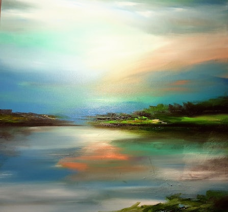 (CreativeWork) Subtle Waters by Alice Howell. Oil Paint. Shop online at Bluethumb.