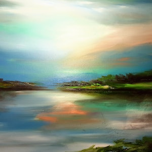 (CreativeWork) Subtle Waters by Alice Howell. oil-painting. Shop online at Bluethumb.
