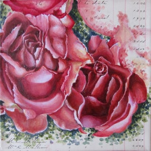 (CreativeWork) Floral Charmer I - Rose by Jillian Crider. arcylic-painting. Shop online at Bluethumb.