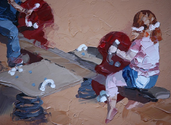 (CreativeWork) See-Saw by Claire McCall. Oil Paint. Shop online at Bluethumb.