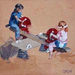 (CreativeWork) See-Saw by Claire McCall. oil-painting. Shop online at Bluethumb.