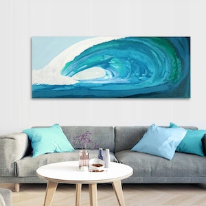 (CreativeWork) Inside - large, long, blue green, abstract wave, seascape. by Stephanie Laine Pickering. arcylic-painting. Shop online at Bluethumb.