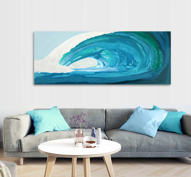 (CreativeWork) Inside - large, long, blue green, abstract wave, seascape. by Stephanie Laine Pickering. acrylic-painting. Shop online at Bluethumb.