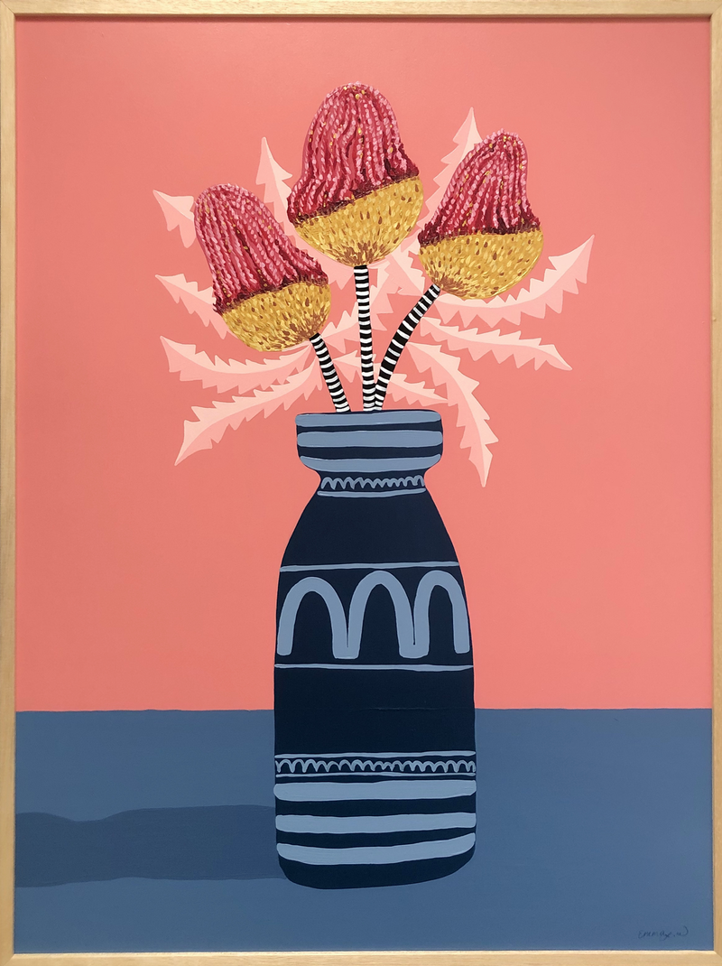 (CreativeWork) Pink and Gold Banksias still life  by emma whitelaw. arcylic-painting. Shop online at Bluethumb.