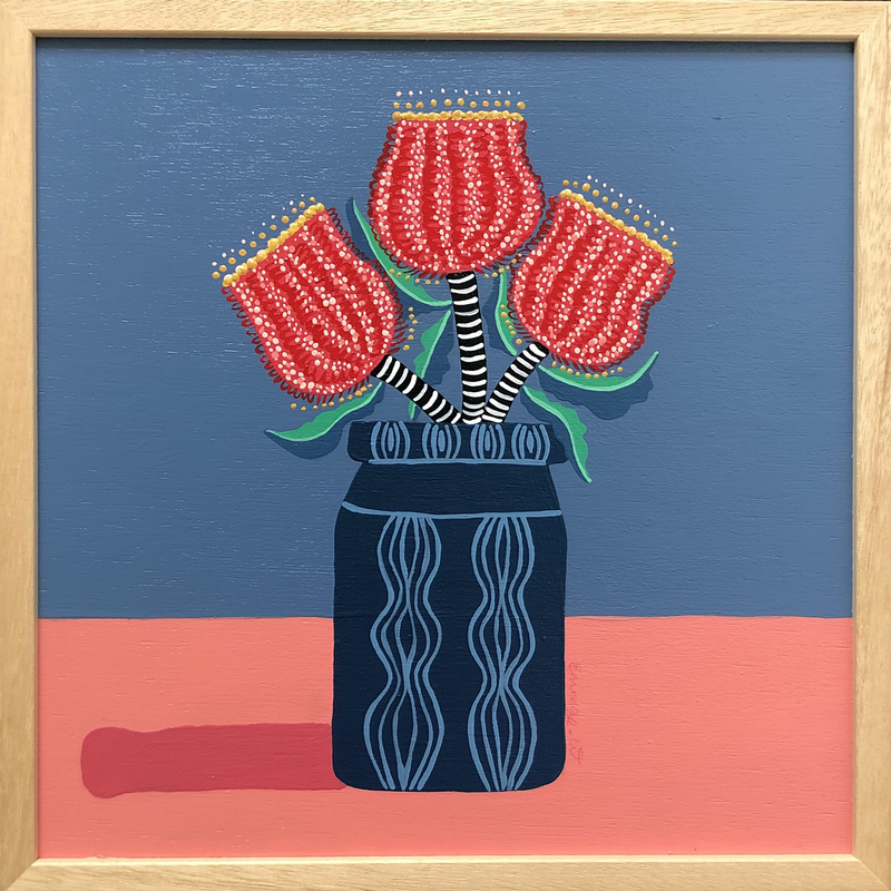 (CreativeWork) Ruby Red Blue Small Still Life  by emma whitelaw. arcylic-painting. Shop online at Bluethumb.