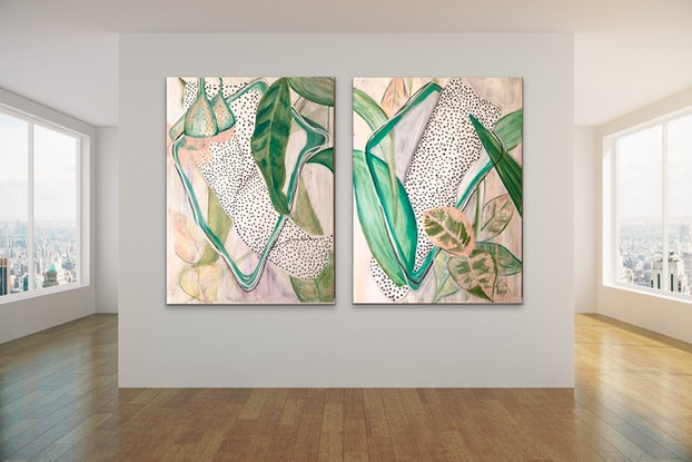 (CreativeWork) Gum Leaves Entwined   by Lizzie Alsop. Mixed Media. Shop online at Bluethumb.