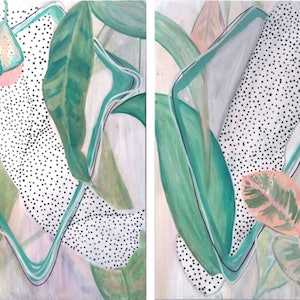 (CreativeWork) Gum Leaves Entwined   by Lizzie Alsop. mixed-media. Shop online at Bluethumb.