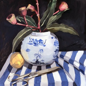 (CreativeWork) Still life Study with Scissors and Gum Nuts by Sally Browne. oil-painting. Shop online at Bluethumb.