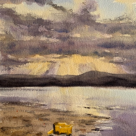 (CreativeWork) The little yellow truck by Shelly Du. Watercolour Paint. Shop online at Bluethumb.