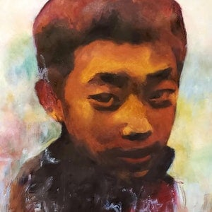(CreativeWork) The Boy from Lao Chai  by Rebecca lam. watercolour. Shop online at Bluethumb.