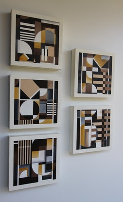 (CreativeWork) Cubika series 2 ( 2 of 5 artworks ) by Chermaine Thompson. Acrylic Paint. Shop online at Bluethumb.