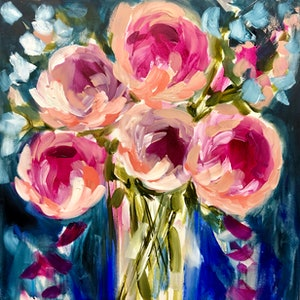 (CreativeWork) Moonlit peony 4 by Amanda Brooks. arcylic-painting. Shop online at Bluethumb.