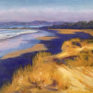 (CreativeWork) Afternoon dunes on Pippi Beach - Seascape by Anne Strambi. oil-painting. Shop online at Bluethumb.