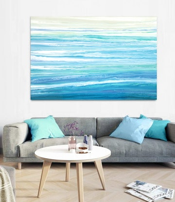 (CreativeWork) Melsea - large, blue, green, abstract seascape by Stephanie Laine Pickering. #<Filter:0x00005589e7c9d7b0>. Shop online at Bluethumb.