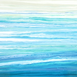(CreativeWork) Melsea - large, blue, green, abstract seascape by Stephanie Laine Pickering. arcylic-painting. Shop online at Bluethumb.