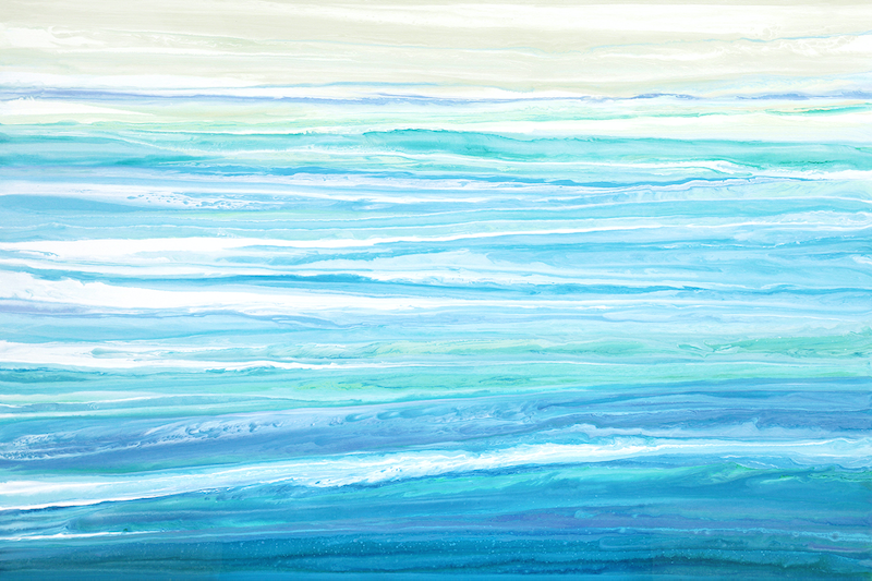 (CreativeWork) Melsea - large, blue, green, abstract seascape by Stephanie Laine Pickering. acrylic-painting. Shop online at Bluethumb.
