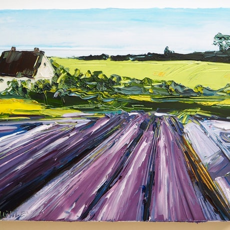 (CreativeWork) 'Don't Leave Home' FRAMED- lavender fields landscape by Michelle Keighley. Oil Paint. Shop online at Bluethumb.
