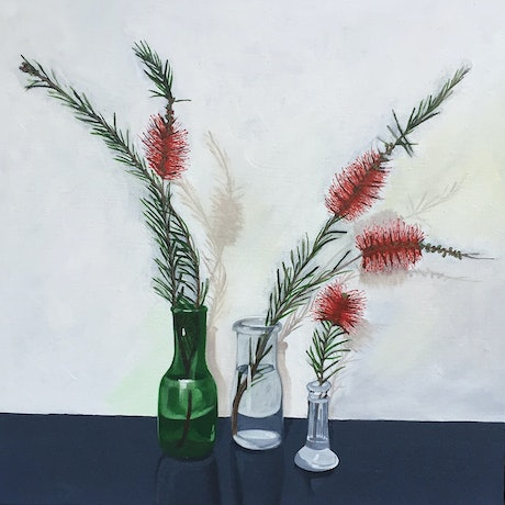 (CreativeWork) Bottlebrush in three vases by Sandra Jenkins. Oil Paint. Shop online at Bluethumb.