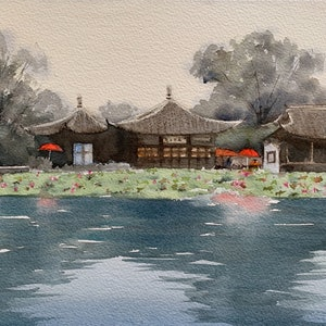 (CreativeWork) West lake by Shelly Du. watercolour. Shop online at Bluethumb.