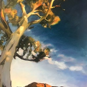 (CreativeWork) Flinders at sundown  by Chris Martin. oil-painting. Shop online at Bluethumb.