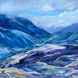 (CreativeWork) Mountains at Crown Range by Meredith Howse. arcylic-painting. Shop online at Bluethumb.