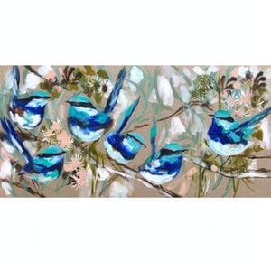 (CreativeWork) Blue wrens and flowering gum  by Amanda Brooks. arcylic-painting. Shop online at Bluethumb.
