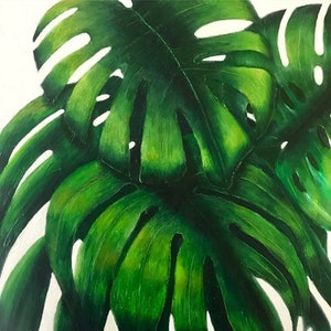 (CreativeWork) Monstera by Tracey Knowland. oil-painting. Shop online at Bluethumb.