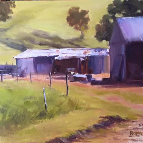 (CreativeWork) Farm Beauty by Robin Hicks. Oil Paint. Shop online at Bluethumb.