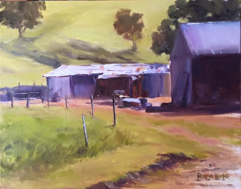 (CreativeWork) Farm beauty, Riverton SA by Robin Hicks. oil-painting. Shop online at Bluethumb.