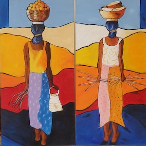 (CreativeWork) Gatherers 2 & 3 by Jo Taylor. arcylic-painting. Shop online at Bluethumb.