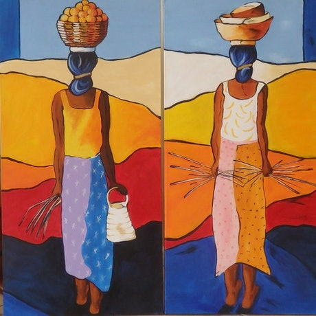 (CreativeWork) Gatherers 2 & 3 by Jo Taylor. Acrylic Paint. Shop online at Bluethumb.