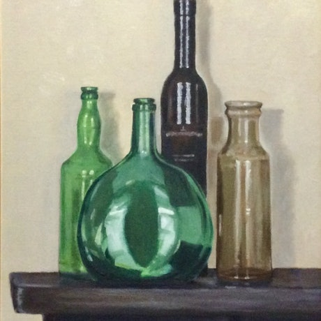 (CreativeWork) Glass glow by Robin Hicks. Oil Paint. Shop online at Bluethumb.