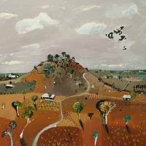 (CreativeWork) Australian landscape  - The Red Hill by Susan Trudinger. arcylic-painting. Shop online at Bluethumb.
