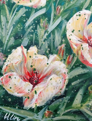 (CreativeWork) ONE TRUE LOVE - Peach Hibiscus - Framed Ready To Hang by HSIN LIN. Acrylic Paint. Shop online at Bluethumb.