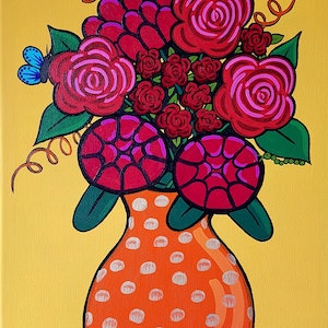 (CreativeWork) Butterfly & Blooms 2 by Alice West. arcylic-painting. Shop online at Bluethumb.