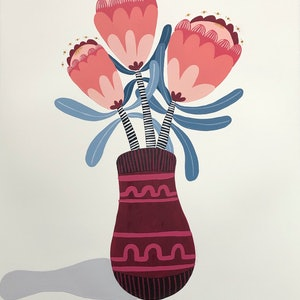 (CreativeWork) Proteas in vase  Still life by emma whitelaw. #<Filter:0x00007fef2d27c3f0>. Shop online at Bluethumb.