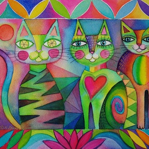 (CreativeWork) Happy Cats     by Karin Zeller. watercolour. Shop online at Bluethumb.