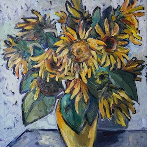 (CreativeWork) Sunflowers by Katerina Apale. oil-painting. Shop online at Bluethumb.