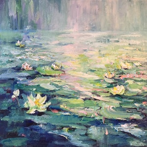 (CreativeWork) Water lilies No 3 by Liliana Gigovic. oil-painting. Shop online at Bluethumb.