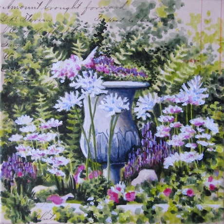 (CreativeWork) Garden Delights II - Floral by Jillian Crider. Acrylic Paint. Shop online at Bluethumb.