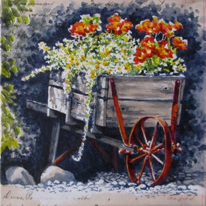 (CreativeWork) Garden Delights III - Floral by Jillian Crider. arcylic-painting. Shop online at Bluethumb.