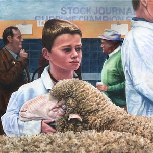 (CreativeWork) A Woolly Experience - Sheep Show by Jillian Crider. watercolour. Shop online at Bluethumb.