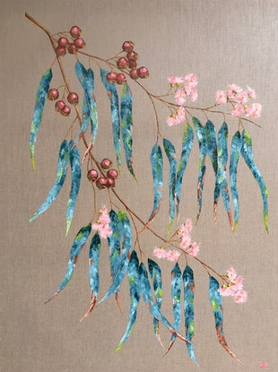 (CreativeWork) Pink and Teal by Eve Sellars. Oil. Shop online at Bluethumb.