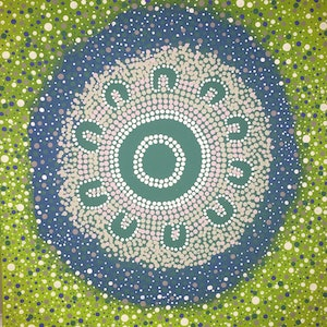 (CreativeWork) Aboriginal dot painting 'womens corroboree'  by gidabul doobay. acrylic-painting. Shop online at Bluethumb.