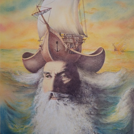 (CreativeWork) The Old Pirate by Imre Zsido. Drawings. Shop online at Bluethumb.